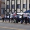 Feministas protestan un centro de crisis por embarazo en Chicago, 2014