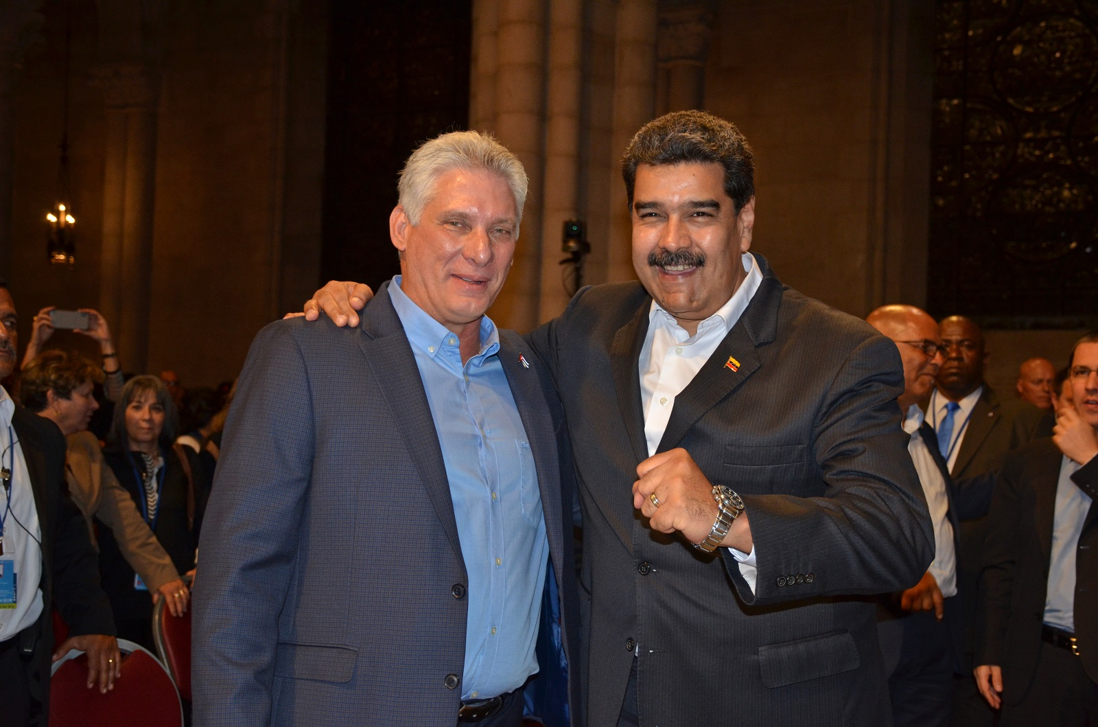 Miguel Díaz-Canel Bermúdez , President of the Republic of Cuba, and Nicolás Maduro Moros, President of the Bolivarian Republic of Venezuela, in Riverside Church in New York City. Liberation photo: Gloria LaRiva.