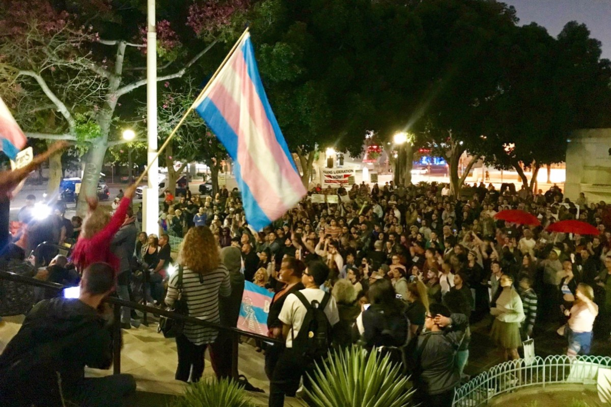 Photo of Los Angeles area protests against anti-trans memo