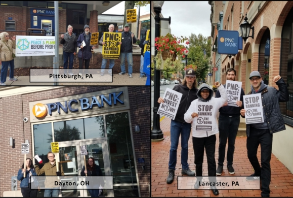 Photo collage: Stop Banking the Bomb