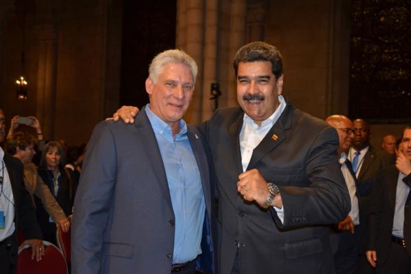 Miguel Díaz-CanelBermúdez , Presidente de la República de Cuba, y Nicolás Maduro Moros, Presidente de la República de Venezuela, en la Iglesia Riverside, la Ciudad de Nueva York, 26 de septiembre, 2018. Foto: Gloria La Riva/Liberation News.