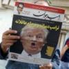 El periódico iraní Arman con foto de Trump en la portada. Foto: Common Dreams