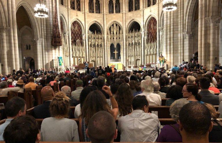 Parte de la multitud en la Iglesia Riverside. Foto: Joyce Chediac/Liberation News.