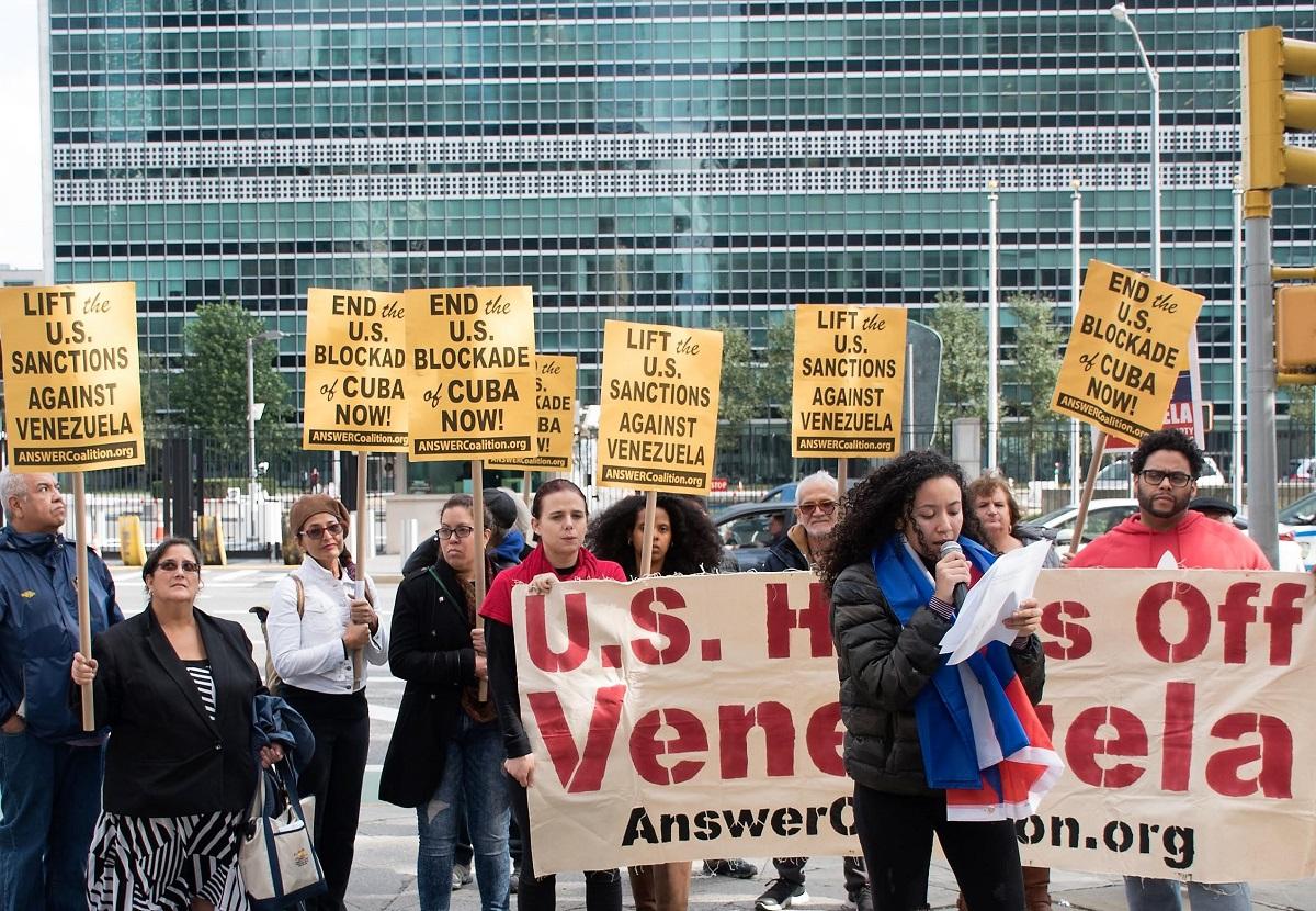 Photo of At UN activists say: Defend Cuba and Venezuela!
