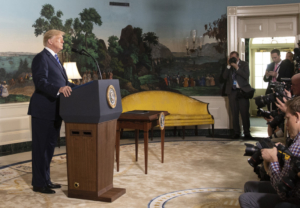 """Source: White House. """"Trump announces the U.S. withdrawal from the JCPOA and the re-imposition of sanctions on Iran. May 8 2018"""""""