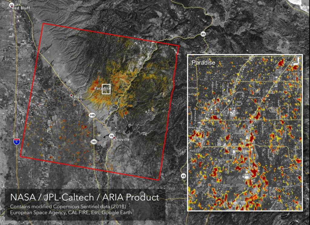 NASA map of damage to Paradise, California, from the Camp Fire, the deadliest wildfire in the state's history. Image credit: NASA/JPL-Caltech