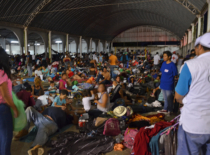 Hondurans in overnight stay in La Isla, Nov. 3, 2018.