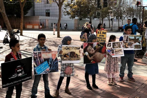 San Francisco, November 3, 2017. Rally against the ongoing US involvement in the Saudi-led war on Yemen. Liberation photo