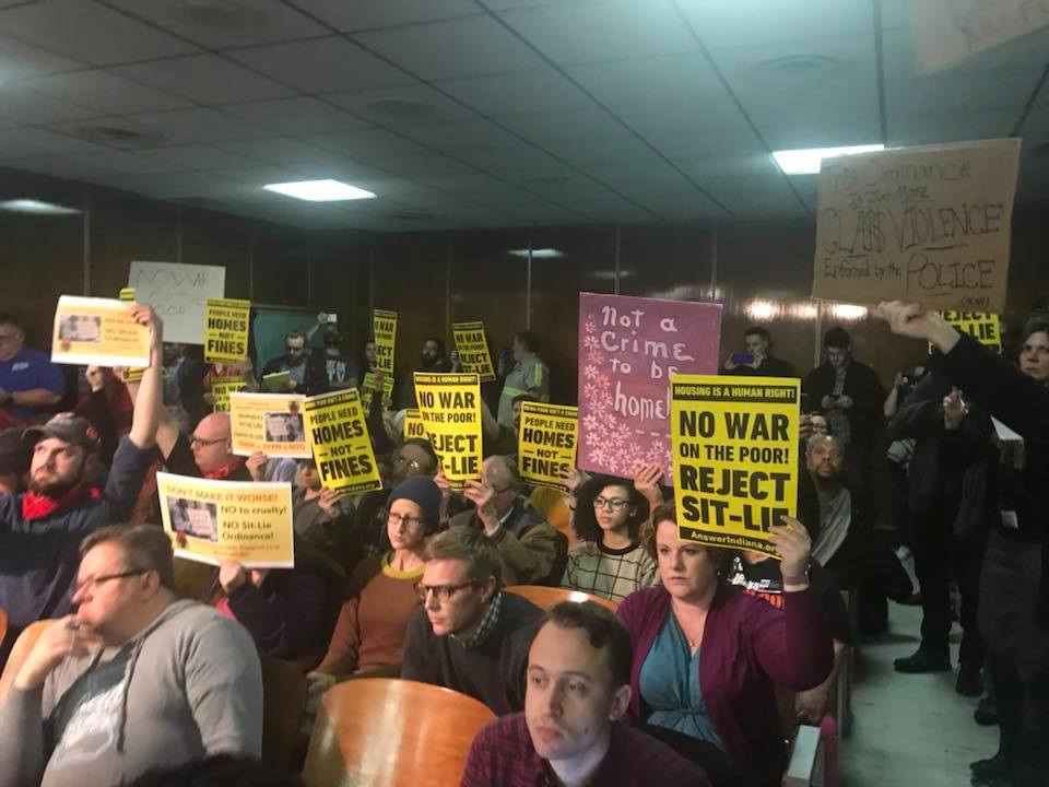 Photo of Indianapolis activists pack city-county council for housing justice