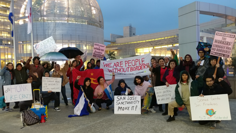 Photo of San José actions in solidarity with refugee caravan and locally displaced