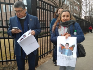 Mother of Eduardo, Maricela Samaniego, with supporters in front of the ICE building in Atlanta, Georgia on January 18, 2019. Photo: Liberation