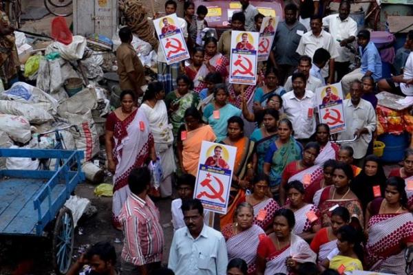 Communist Party of India (Marxist) rally. Photo:  Jaffar Theekkathir