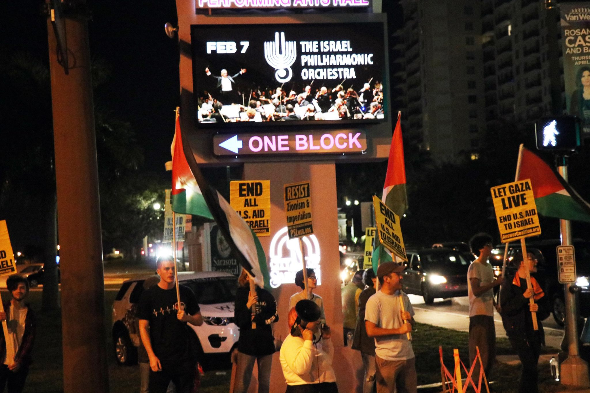 Photo of Israel Philharmonic Orchestra greeted by protest in Sarasota