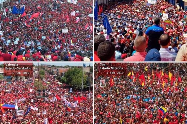 También se llevaron a cabo importantes manifestaciones a favor del gobierno en Maturín, Guanare, Valencia y Cúa el 1 de febrero de 2019.
