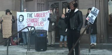PSL organizer Chardonnay Merlot speaks at a rally in Connecticut on Thursday. Liberation Photo.