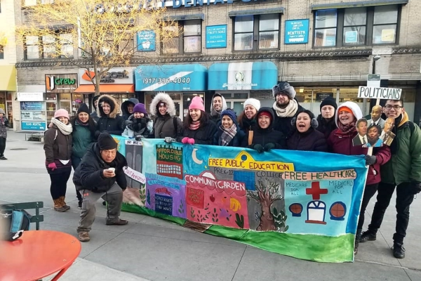 Scamazon Corona Plaza Outreach photo credit QNU (Queens Neighborhoods United)