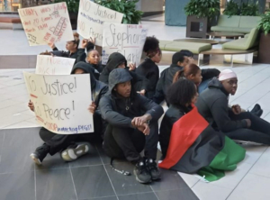 #Arden13 lead a sit-in at the Arden Mall. Photo: Berry Accius