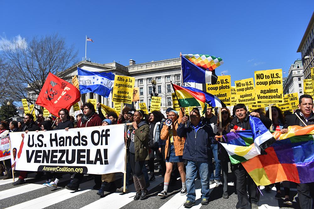 In Washington, biggest protest to date demands 'U.S. hands off Venezuela'