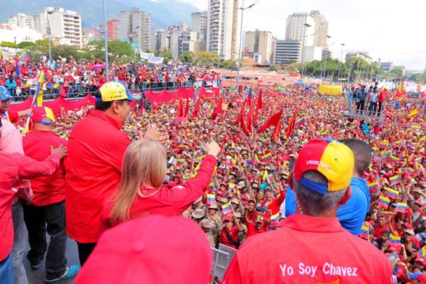 El presidente de Venezuela, Nicolás Maduro, en un mitin en apoyo a la Revolución Bolivariana el 2 de febrero del 2019. Foto: Prensa Presidencial