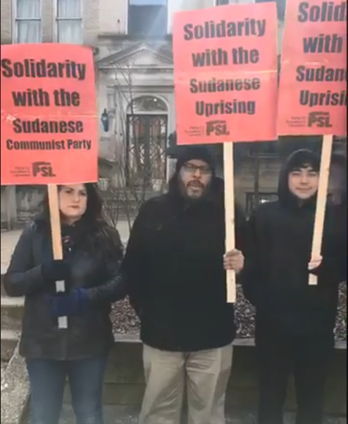 Photo of Protesters gather in front of Sudanese embassy in Washington, D.C.: Solidarity with the people's uprising and the Communist Party!