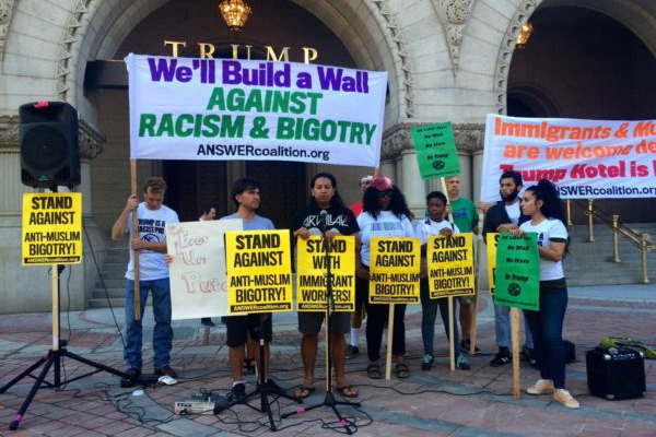 ANSWER protest outside Trump Hotel in Washington, D.C. September, 2106. ANSWER photo.