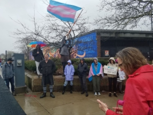 Demonstrators march in the rain for the Trans Day of Visibility in Boston, Massachusetts, March 31 2019. Liberation Photo: Sofia Perez.