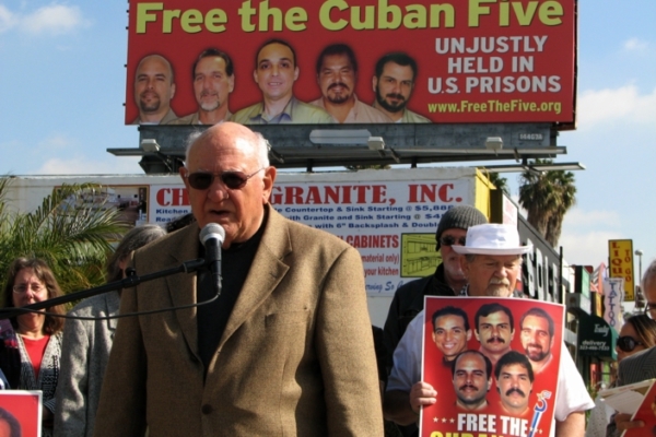 Blase Bonpane at the unveiling of the Cuban Five billboard in Hollywood, CA. Liberation photo: Gloria La Riva