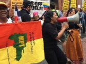 May 11 demonstration in support of the embassy protectors across the street from the right-wing mob trying to seize the Venezuelan embassy