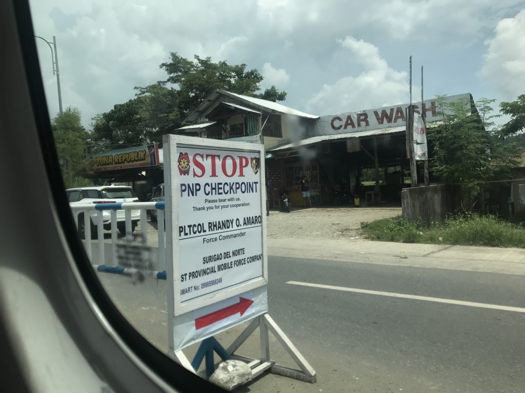 One of many Philippine National Police (PNP) checkpoints in Caraga, Mindanao. PNP and military checkpoints divide every stretch road in Mindanao, and pre-date martial law. -Liberation News Photo