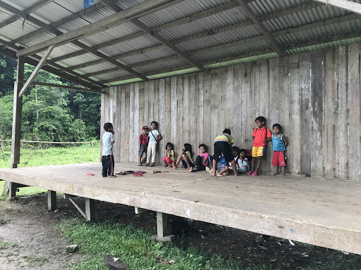 Lumad elementary students at Kilometer 9 in Lianga, the site of a forced evacuation in May by paramilitaries and the AFP. The school is part of Tribal Filipino Program of Surigao del Sur. -Liberation News Photo