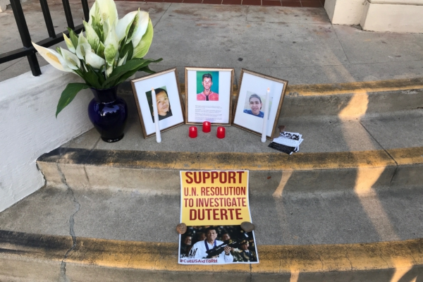 Anakbayan's shrine for the victims of the U.S.-Duterte regime at Balboa Park's Hall of Nations.Liberation photo