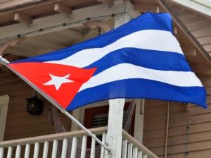 Cuban Flag waving in the air.