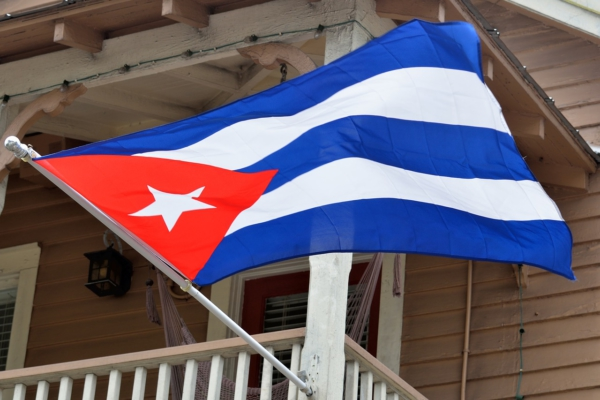 Cuban Flag waving in the air.