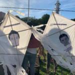 Kites depicting portraits of the Ayotzinapa 43.
