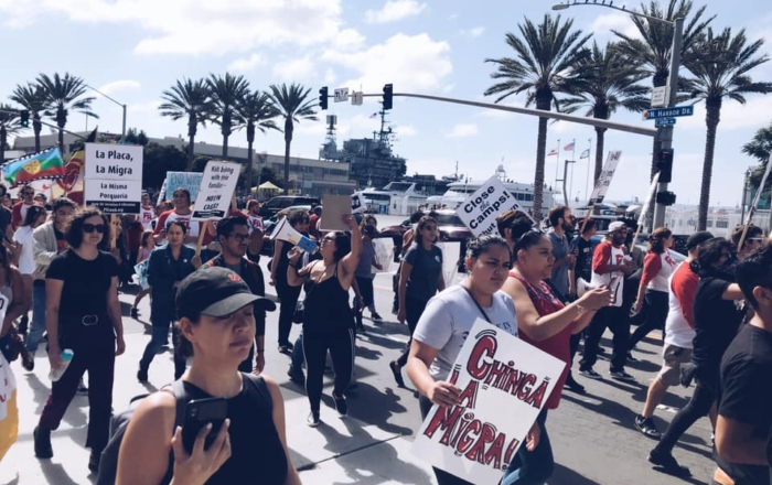 The SD Coalition to Close the Camps protests U.S. border policies, Oct. 13, 2019. | Liberation photo.