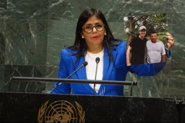 Venezuelan Vice President Delcy Rodríguez speaks at the United Nations General Assembly