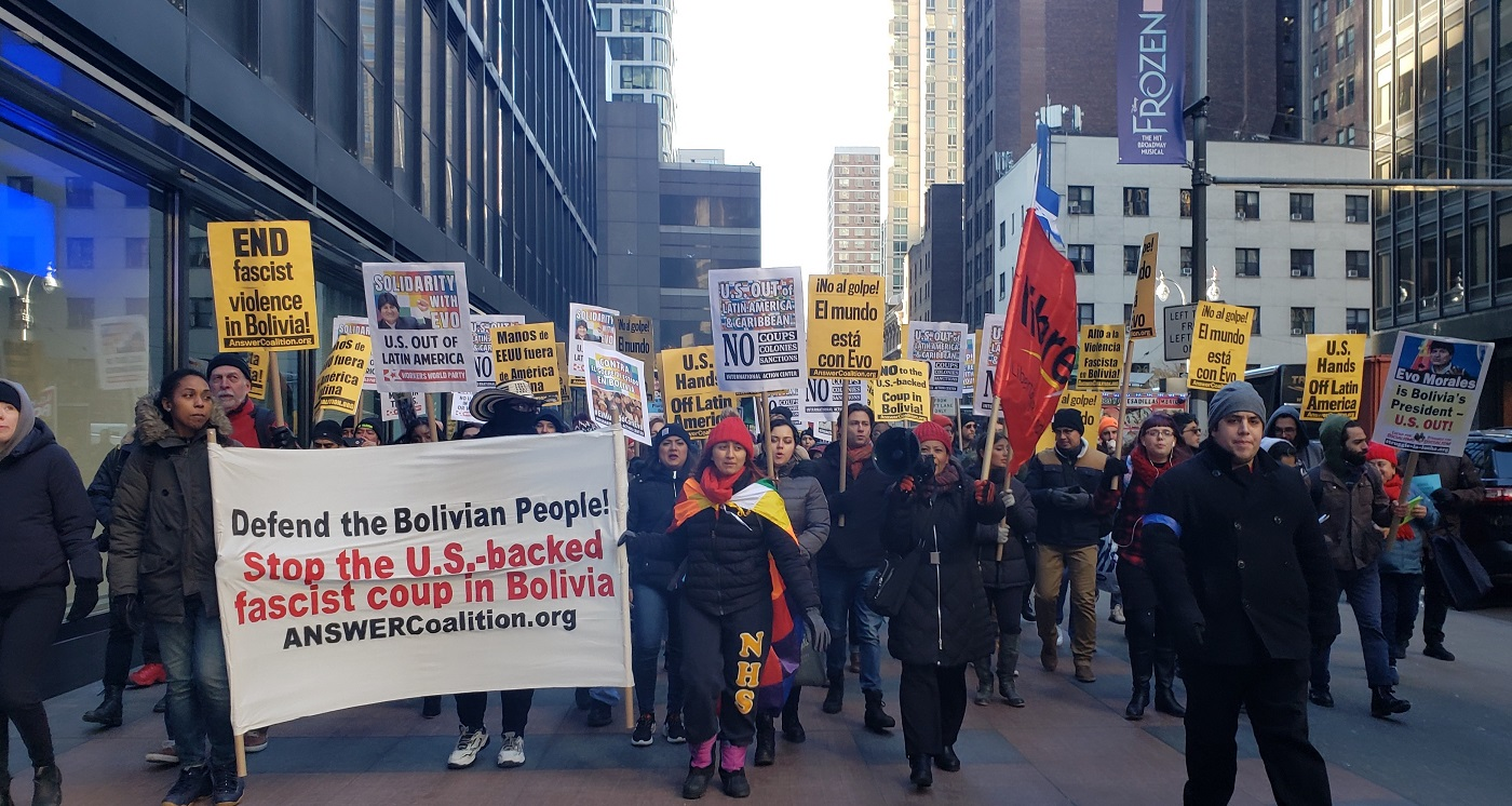 Photo of Hundreds rally in NYC against right wing coup in Bolivia
