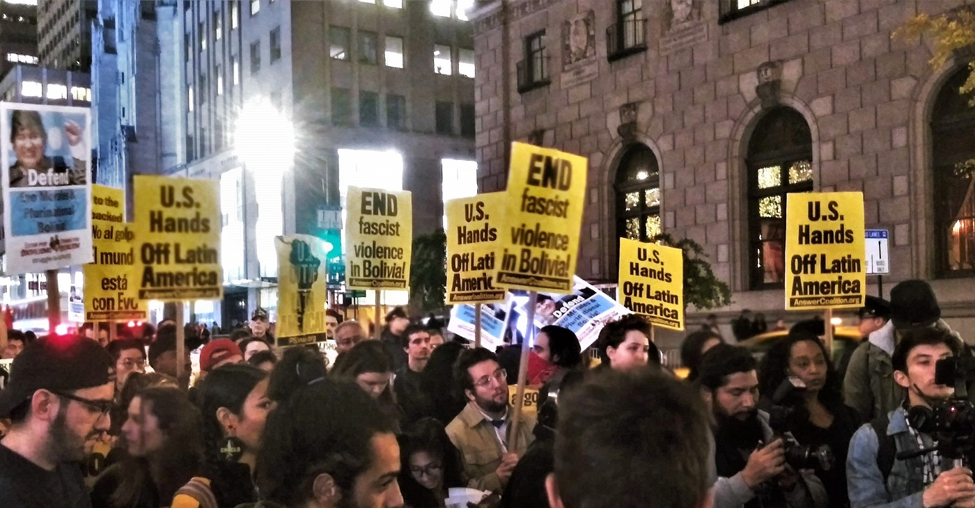 Photo of Angry crowd protests Bolivia coup at NYC's Trump Towers