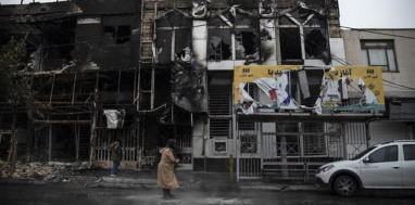 Two buildings burned in the city of Karaj, Nov. 17. Photo: Press TV