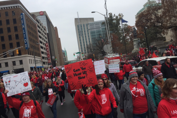 Indiana teachers march in Indianapolis as part of the Red for Ed rally on November 19. Photo by Cambria York.