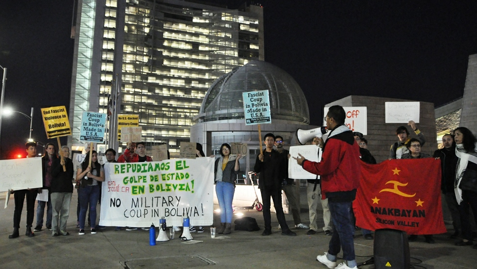 Photo of New anti-imperialist coalition in San José, Calif., protests Bolivia coup