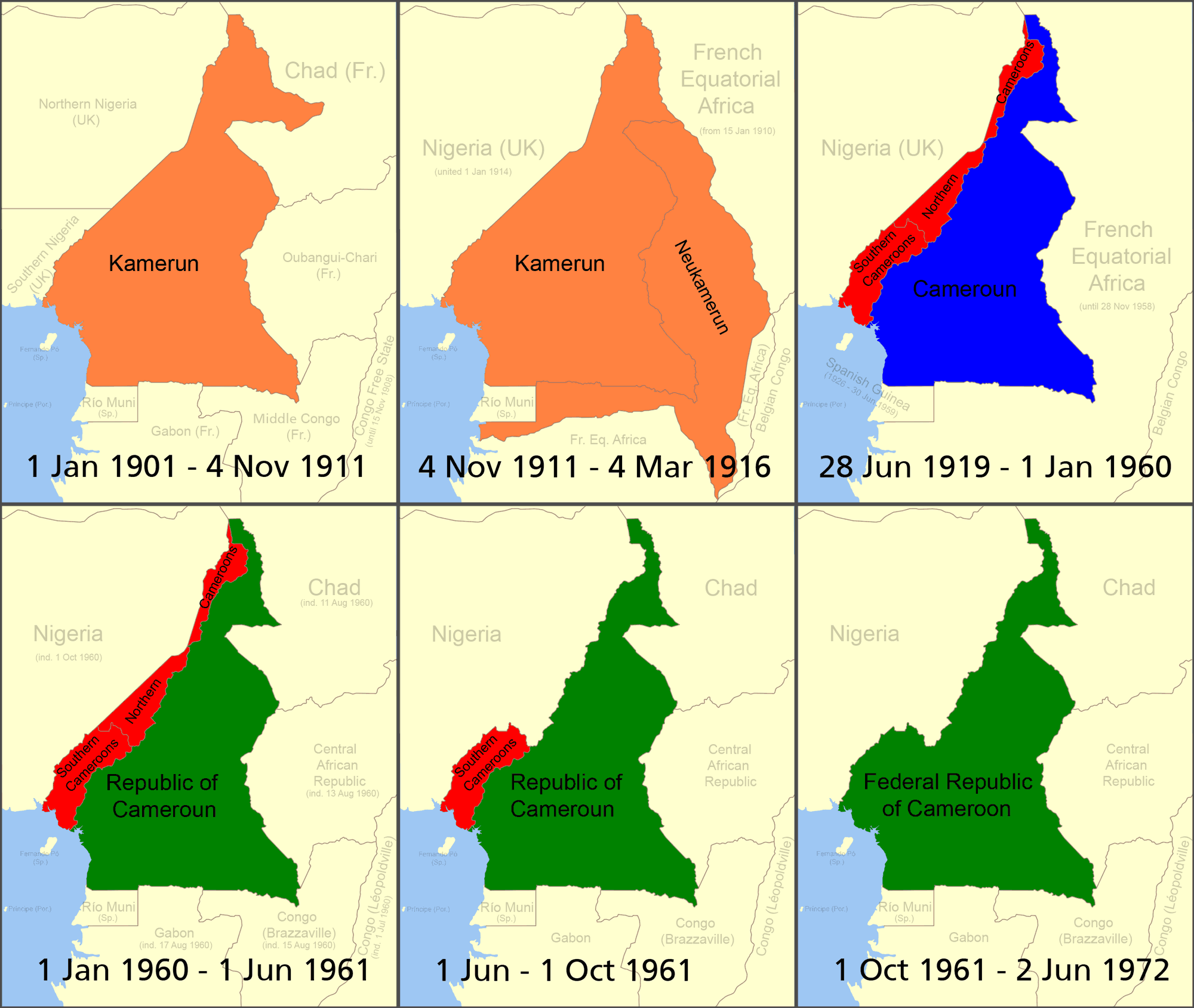 Cameroon's changing boundaries. Orange=German Kamerun, Red=British Cameroons, Blue=French Cameroun, Green=Republic of Cameroon. By Roke - Self-made based on public domain CIA map Image:Cameroon Map.jpg, original svg file located here., CC BY-SA 3.0, https://commons.wikimedia.org/w/index.php?curid=938868
