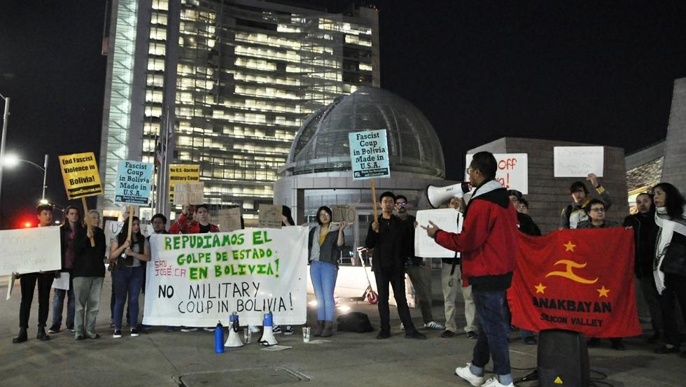 Photo of Nueva coalición anti imperialista en San José, California, protesta contra el golpe de estado en Bolivia