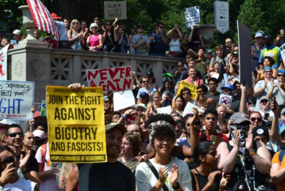 Boston anti-racist counter protest. Liberation photo.