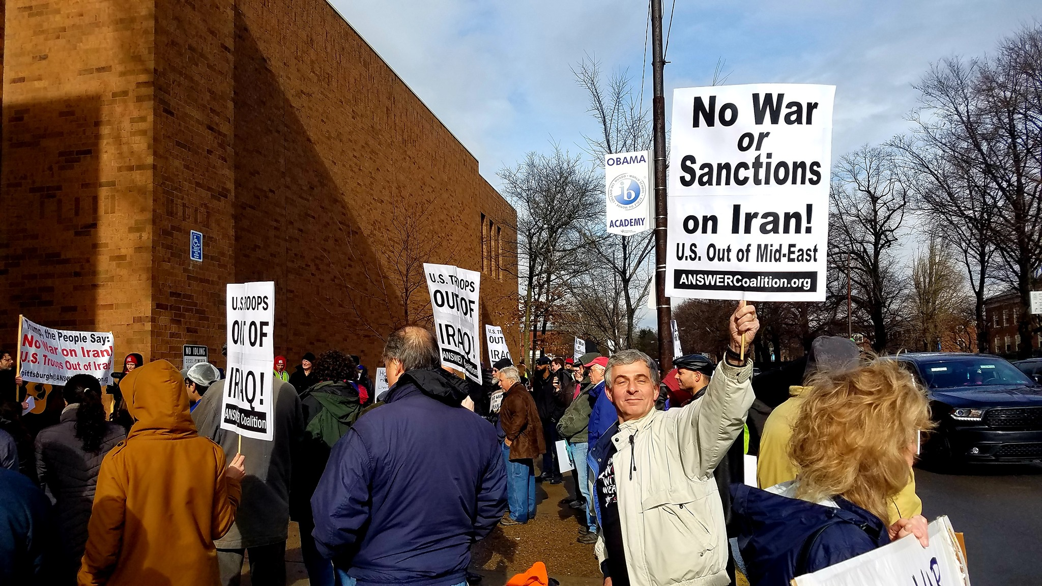 "Protesters in Pittsburgh say: ""No War on Iran! US out of Iraq!"