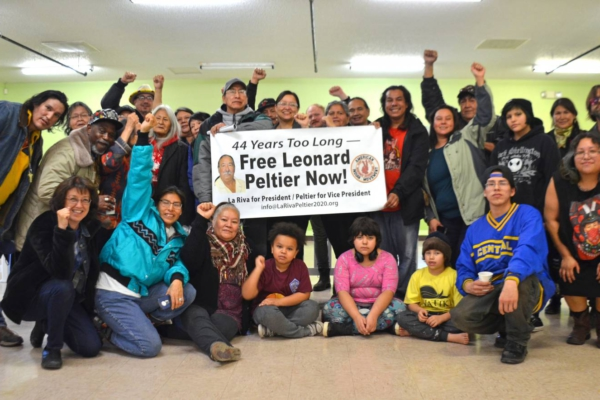 Native community activists and families show their support for Leonard Peltier, Rapid City, SD. Liberation photo.