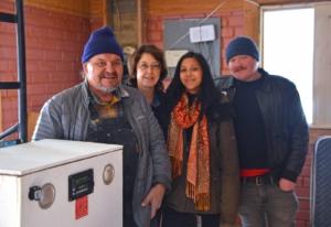 Henry Red Cloud, Gloria La Riva, Candice Choo-Kang, Patrick McWilliams, at Pine Ridge Reservation. Liberation photo.