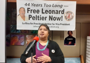 Jean Roach at the Leonard Peltier film showing, Rapid City, SD. Liberation photo.