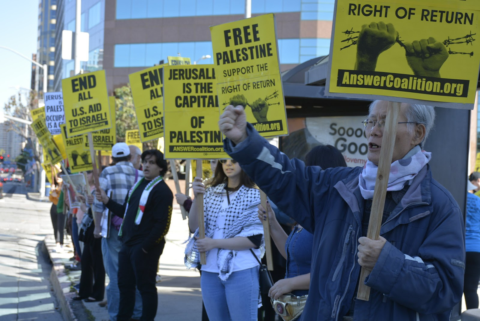 Los Angeles Palestinians and supporters reject Trump and Netanyahu's 'Joke of the Century'