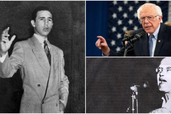 Bernie Sanders, Eduardo Chibás and a young Fidel Castro. Liberation graphic.